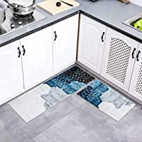 aiface 2 Pièce Tapis de Cuisine Tapis Cuisine Devant Evier, Tapis de Bain Antidérapant Lavable en Machine Tapis de Bain…