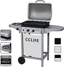 CCLIFE BBQ Barbecue griglia giardino barbecue a gas con 2+1bruciatori principali del color argento o nero