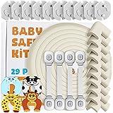 Locn 29 Piezas Kit Seguridad Bebe, 10 Protectores Esquinas Bebes, 10 Seguridad Enchufes Bebes, 5 M Protector de Esquinas y Bo