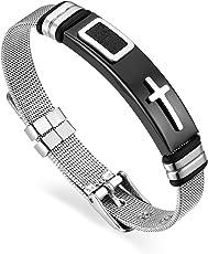 Cupimatch Herren Armband Edelstahl Kreuz Mesh-Armreif, 17-21.5cm für Herren Jungen, Silber