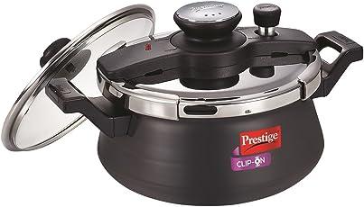 Prestige Clip On Aluminium Handi Pressure Cooker with Glass Lid, 5 Litres, Black