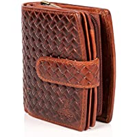 MATADOR Damen Portemonnaie Echt Leder – TÜV Geprüfter RFID & NFC Schutz - Geldbörse KARO Design - Geldbeutel inkl…