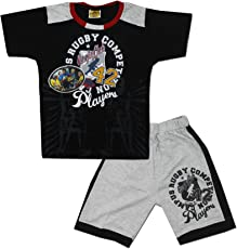 Kid's Care Printed Cotton T-Shirt and Half Pant Set for Boys(8214)