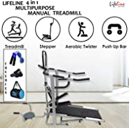 Lifeline 4 in 1 Deluxe Manual Treadmill for Home Gym
