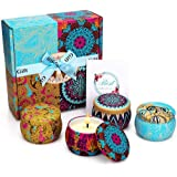 CREASHINE Velas Perfumadas Juego de 4 Piezas Vela Aromática Regalo de Velas de Aromaterapia Cera de Soja 100% Natural Vela de