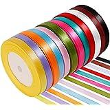 Anpro 12PCS Ruban Satin Mixte Coloris 10mm x 22m Environ Décoration pour DIY, Mariage,Fête et Emballage Cadeau, Faire…