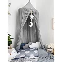 Bed Canopy for Children, Dyna-Living Mosquito Net Round Dome Nursery Net Hanging Curtain Kids Princess Indoor Outdoor Play Reading Tents Net Protection Bedroom Bed Decoration (Grey)