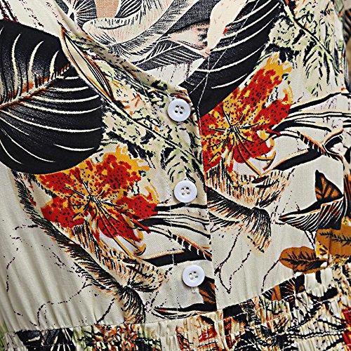 Damen V-Ausschnitt Kleid Boho Maxikleid Strandkleid Elegant Vintage Kleid Beige