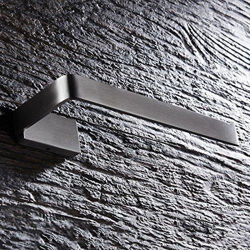 UHK Lysqva Badezimmerzubehör WC-Badezimmer Badezimmerzubehör Handtuchring 304Edelstahl Wandmontierter Handtuchhalter Bar Square Chassis Nickel gebürstet -