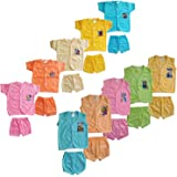 SR CREATIONS JUSTTRY Fashion Baby's Poly Cotton T-Shirt and Shorts Combo Set (Multicolour; 0-6 Months) - Pack of 10