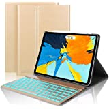 D DINGRICH Tastatur Hülle Kompatibel mit ipad pro 11, ipad pro 11 case mit 7 Farben Hinterleuchtet Wireless Bluetooth Tastatur (QWERTZ), Magnetischen Schlaf/Wach für iPad pro 11 Zoll