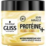 Schwarzkopf - Gliss - Masque Cheveux Soin Miracle Nourrissant 4 en 1 - Cheveux secs/abîmés - 96% d'ingrédients d'origine natu