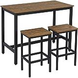 Meerveil Lot Table et chaises de Bar, Ensemble Table et 2 Tabourets Style de Bar en Fer et Bois-Table et Chaises, avec Cadre