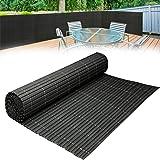 HENGMEI 300x90cm PVC jaloezieën mat Screening hek antraciet - omheining privacy windscherm ondoorzichtig voor tuin, balkon en