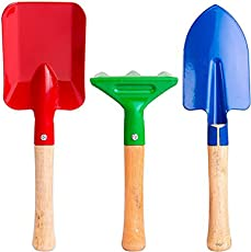 ascension Gardening Tools Set for Digging and Planting Small Trowel, Garden Fork, Shovel Wooden Handle -Combo of 3