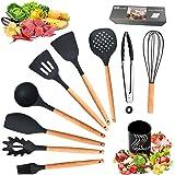 Ozvavzk Set d'ustensile de Cuisine,11Pcs Ustensiles de Cuisine en Silicone Poêle Antiadhésive Kit Ustensiles Cuisine avec Boî