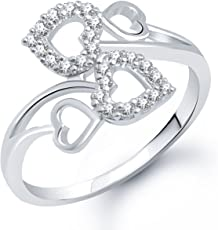 Meenaz Heart Ring for Girls & Women Silver Plated FR177