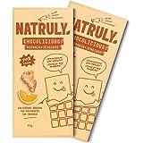 NATRULY Tableta de Chocolate sin Azúcar y sin Edulcorantes   Endulzado con Fibra de Achicoria   Sabor Naranja + Jengibre + 70