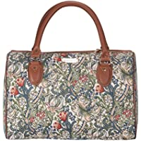 Signare Tapestry Travel Luggage Bag/Inspired by William Morris (Golden Lily, TRAV-GLILY)