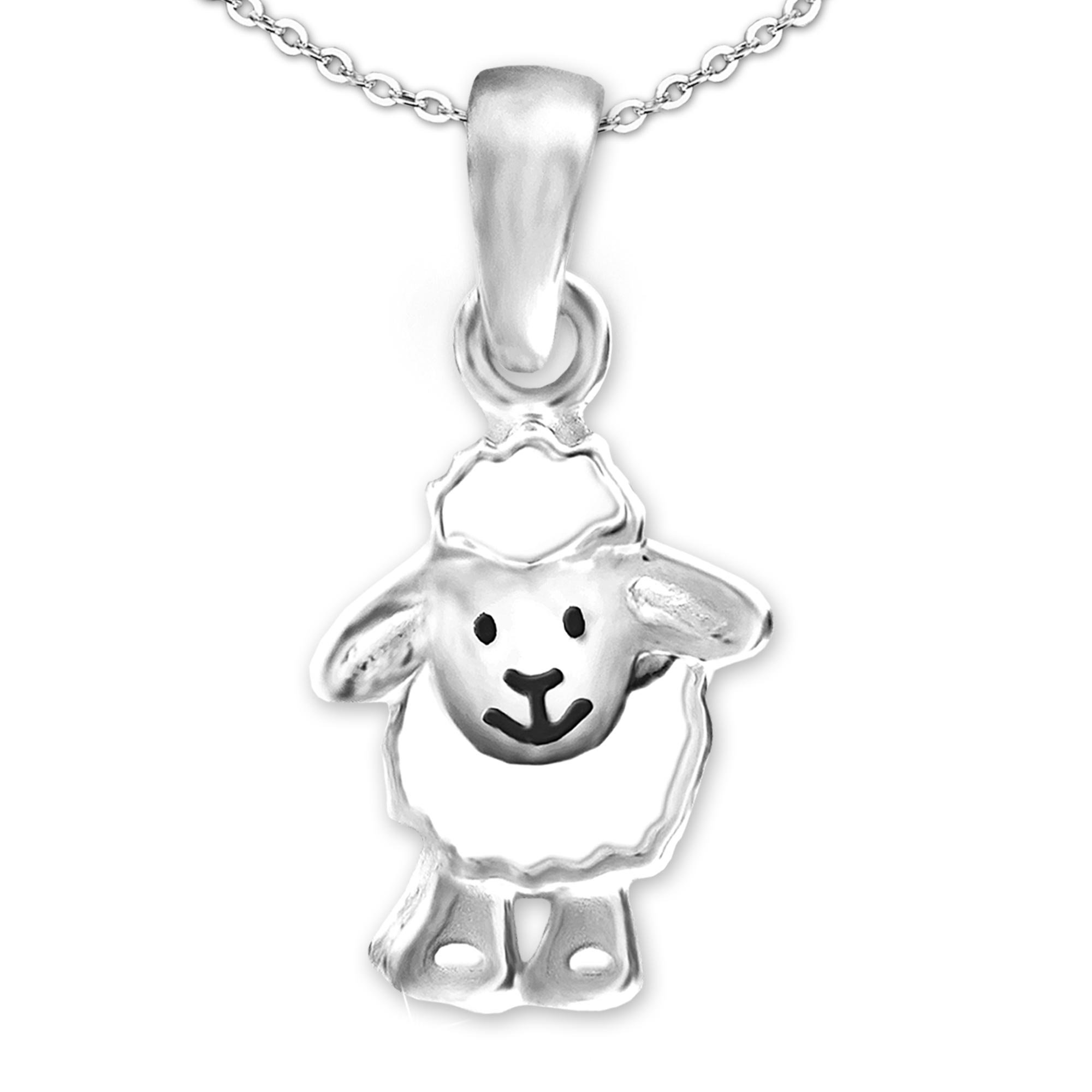 Clever Schmuck Silver Small Pendant Sheep Funny Laughing Face White and Black Gloss and Anchor Chain 42 cm 925 Sterling Silver in Case