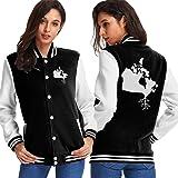 BYYKK Donna Giacche e Cappotti Canada Map Roots Women's Long Sleeve Baseball Jacket Baseball Couples Jacket