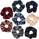 YUFETY 8 Pcs Hair Scrunchies Velvet Elastic Hair Bands Colorful Ponytail Holder Bands Hair Accessories Hair Ties For…