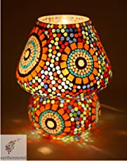 EarthenMetal Multicolour Mosaic Style Dome Shaped Glass Table Lamp