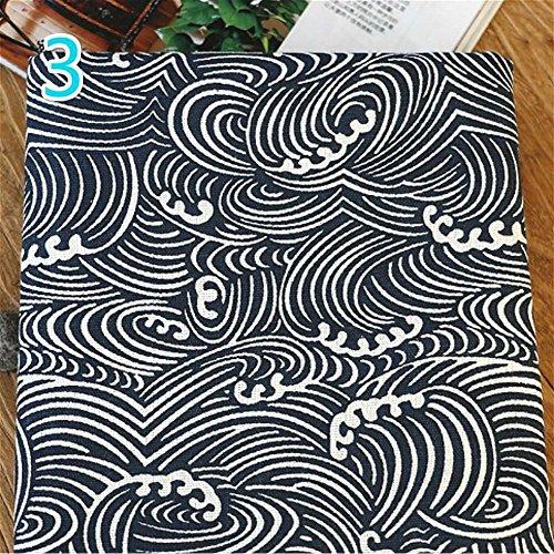 YOUMU Japanische Baumwolle Leinen Stoff Eule Ocean Wave Druck Reinigungstuch für Kissen Vorhang und DIY Tasche 100* 145cm 3