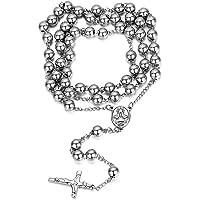 Jewelrywe Gioiello in Acciaio Inossidabile, Catenina con Perline, Catena Rosario, Crocifisso Retro Uomo