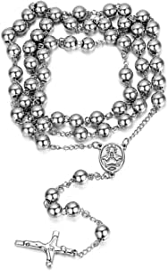 Jewelrywe Gioielli Acciaio Inossidabile Collana Collegamento Perline Catena Catenina Argento Rosario Jesus Gesu Cristo Crocifisso Croce Retro Uomo