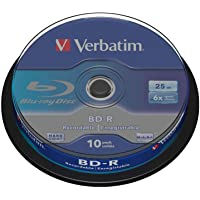Verbatim BD-R Single Layer - Blu-ray Disc 25 GB, 6x Burning Speed, Scratch Protection, 10-Pack Spindle, blue/white, 43742