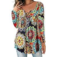 DEMO SHOW Donna Maglie a Manica Lunga Sciolto V Collo Bottone Camicia di Henley Floreale Pieghettata Bluse Tunica Tops T…