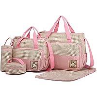 Miss Lulu 5er-Set Baby Wickeltasche Babytasche Tasche Mutter Windeltasche Handtasche Schultertasche Flaschenhalter mit…