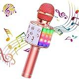 ShinePick Micrófono Karaoke Bluetooth, 4 en1 Microfono Inalámbrico Karaoke Portátil con Luces LED para Niños Canta Partido Mu