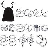 8 Paia Acciaio Inossidabile Polsino dell'Orecchio, Vibury Orecchio Clip Set Orecchini di Cartilagine Non Penetranti per Uomin
