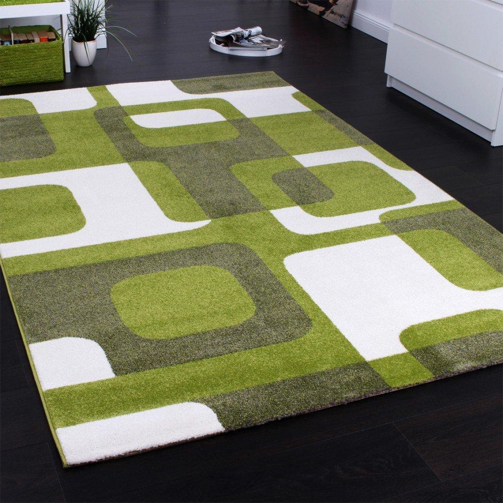 Teppich grau kurzflor  Designer Teppich Trendiger Retro Teppich Kurzflor Webteppich in ...