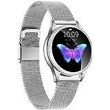 LUNIQUESHOP ROUND2 Brillante Smartwatch, Bluetooth 5.0 Montre Intelligente Femme avec Fréquence Cardiaque, Podometre Sommeil