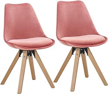 Duhome 2er Set Stuhl Esszimmerstühle Küchenstühle Farbauswahl mit Holzbeinen Sitzkissen Esszimmerstuhl Retro 518M, Farbe:Pink, Material:Samt