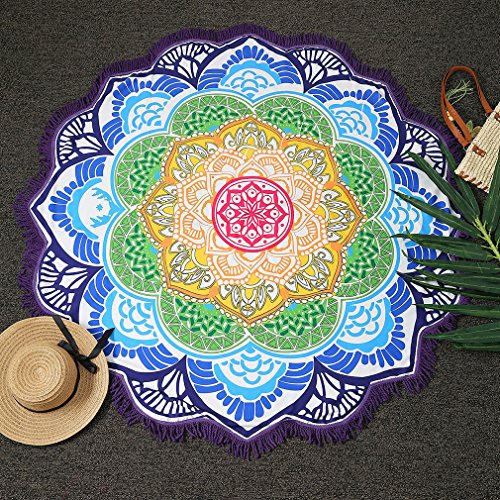Magnífica Mandala Tela playa ICOCO Tapiz redonda de algodón de colores bonito suave como tapete, mantel de mesa, para decoracion de baño, sofa, hogar - púrpura oscura, 147 x 147cm