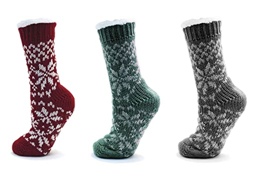 Ladies//womens Fairisle Knit Slipper Socks Boots, Fluffy Lining ...