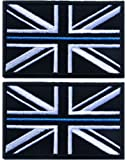 TACVASEN 2 Pieces - Thin Blue Line Police Union Jack Flag Patch UK Badge for Men Women