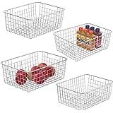 سلة تخزين الأسلاك من 4 قطع من سلك، سلة معدنية متينة لتخزين الطعام في المجمد سلال تنظيم مع مقابض للمطبخ ، تخزين الملابس ، الخز