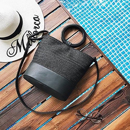 Weibliche Tasche Schlagfarbe Handpflege Tuo Tu Paket Art Und Weiseschulterbeutel Einfaches Gras Schiefes Kreuzpaket Schwarz
