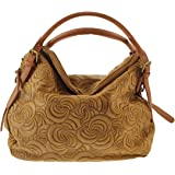 CTM Borsa elegante a mano da donna, borsa a sacca in vera pelle scamosciata made in Italy con fantasia geometrica 40x30x15 Cm