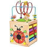 Wesimplelife Cubo di attività Giochi Legno per Bambini Centro di attività 6 in 1 Labirinto di Perline Educativo Regalo di Com