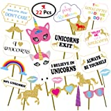 Party Propz Party Propz Unicorn Photobooth Props (Set of 22 Pieces)/ Unicorn Birthday Decoration