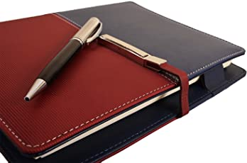 COI Unique Business Faux Leather Undated Planner / Diary With Pen (Blue And Red)