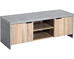 HOMCOM 1.2M Wooden TV Stand Cabinet Home Media Center DVD CD Storage Unit Entertainment Station Living Room Furniture
