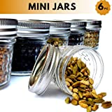 Femora Clear Glass Steel Cap Diamond Cutting Storage Spice Jars Masala Jar Mouth Refresher Jar Kitchen Jar Dry Fruits Jars for Kitchen, Set of 6pcs, 150ml