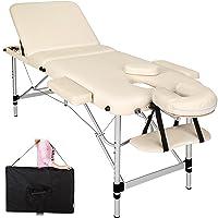 TecTake Table de massage pliante aluminium cosmetique lit de massage portable beige + housse de transport